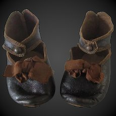 Jumeau size 10 . pair of antique leather shoes . length 3 1/8 in