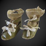 "Jumeau size 10 . pair of antique shoes & socks. length 3 1/6"""