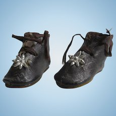 "1 3/4"" leather shoes c.1880 for bebe or doll, 1 star PARIS"