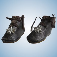 """1 3/4"""" leather shoes c.1880 for bebe or doll, 1 star PARIS"""