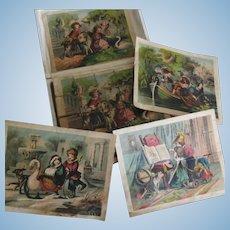 Lithograph wood block puzzle set of 20 p Child Theme XIX° century