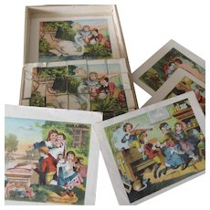 Lithograph wood block puzzle set of 20 p Child Theme