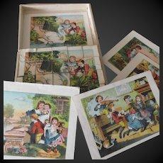 Lithograph wood block puzzle set of 20 p Child Theme