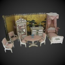 Louis Badeuille France XIX° set of furniture for mignonette or dollhouse