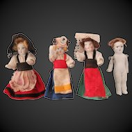 4 Miniature all bisque dolls, 2 in, 3 with orig clothes