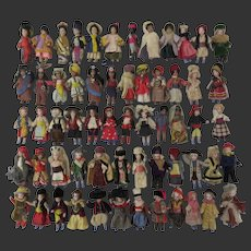 """set of 60 Lilliputian with original clothes. french all bisque mignonettes 2 1/3"""""""