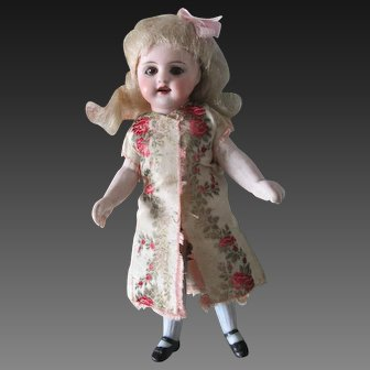 """6"""" German all bisque doll long blue stockings"""