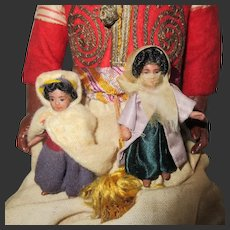 "couple of bedouin : French Lilliputian dolls all original 2 1/3"""