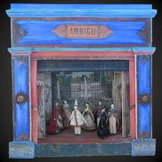"7 grodnertal dolls with theater AMBIGU 18"" x 17 1/3"""