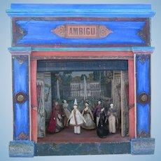 "7 grodnertal dolls with theater AMBIGU 18"" x 17 1/3"""
