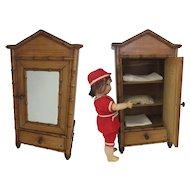 French wooden doll armoire XIX° faux bamboo