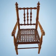 "Wooden doll chair 11 3/4"". faux-bamboo"