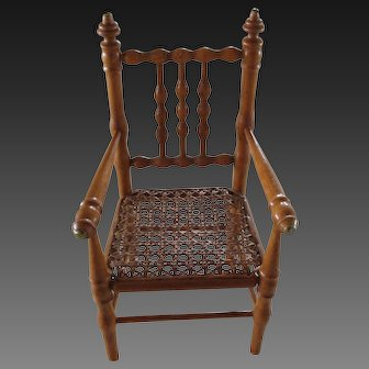 """Wooden doll chair 11 3/4"""". faux-bamboo"""