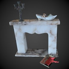 set of 5 items for dollhouse : marble Fireplace  vintage & antique