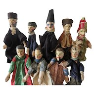 9 wooden Puppets XIX° century with Polichinelle medium size