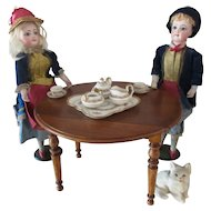 """miniature French drop leaf dining Table for doll Ht 6 2/3"""""""