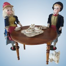 miniature French drop leaf dining Table for doll Ht 6 2/3""
