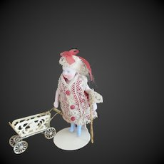 miniature Pram for dollhouse or mignonette display