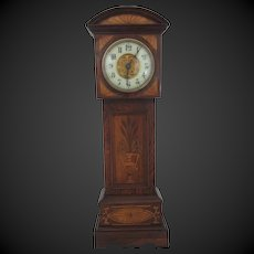 "miniature tall case clock which works Ht 17 2/3"" for doll display"