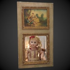 "16 1/3""x9"" small Trumeau mirror with romantic oil painting on wood"