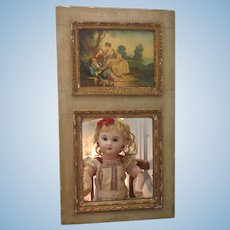 """16 1/3""""x9"""" small Trumeau mirror with romantic oil painting on wood"""