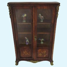 marquetry Display Cabinet with 4  Limoges porcelain items