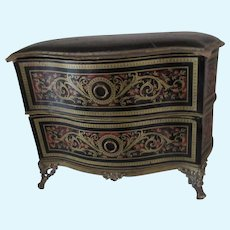 French chest Boulle design in papier mache, candy box