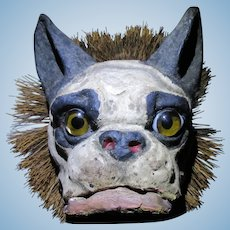 french paper mache pull-toy Bulldog on wheels