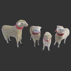 """set of 4 antique german Sheep Ht 1 3/4"""" until 2 3/4"""""""