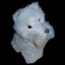 """French papier mache & fur dog for doll display . Ht 8 """" - Red Tag Sale Item"""