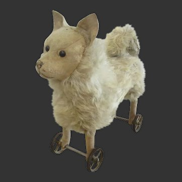 early STEIFF dog on wheels 1902-04 spitz pomeranian 35 cm