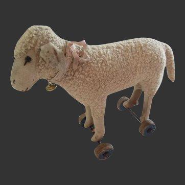 "Steiff sheep on wheels . pull toy 1915-29 . Ht 6 2/3"""