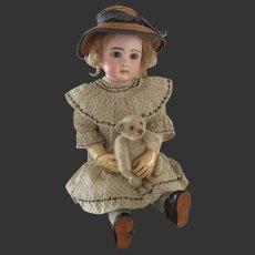 """rare 5 1/8"""" white mohair 'rattle' teddy by STEIFF circa 1920"""