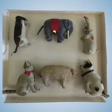 STEIFF : 1906-1918 rare set of 6 velvet animals with buttons no box