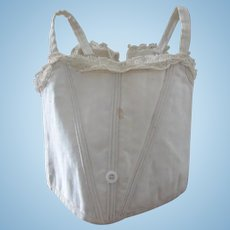 antique bebe Jumeau corset for a doll size 11, white