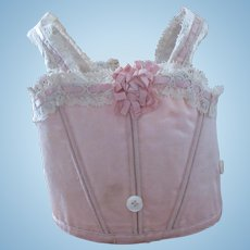 antique French Bebe corset for a doll size 10, pink satin