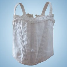 antique bebe Jumeau corset for a doll size 9, white