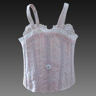 antique French Bebe corset for a doll size 9, pink