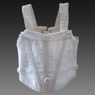 antique bebe Jumeau corset for a doll size 7 or 8, white