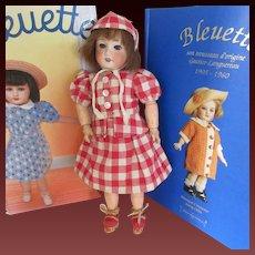 original G.L. outfit 'paysannerie' for Bleuette doll, 1946, 3 pieces