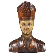 Hand carved early French wood carving of a Priest or Saint circa.1800