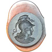 Antique french glass intaglio wax seal stamp showing a Greek warrior with dragon helmet c.1880 RL3