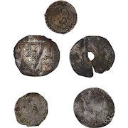 Collection of 5 small unidentified English medieval hammered silver coins coin