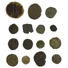 Collection of small Roman bronze Billon coins uncleaned unidentified group RC6