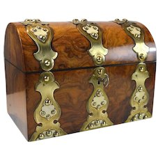 Antique English brass bound walnut domed top box Victorian circa.1860