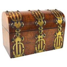 Original Antique English domed top brass bound walnut tea caddy box