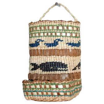 Makah Novelty Basket - Match Holder - c. 1950s