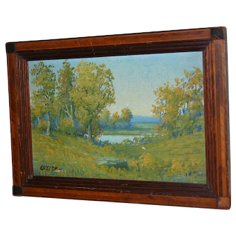 Well Known Artist, Carl Lotick, Small Landscape Painting