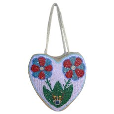 Native American - Plateau Beaded Bag - Heart Shaped - c. 1930s