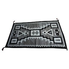 "Navajo Weaving - Textile - Rug - Traditional ""Storm Pattern"" c. 1940s"